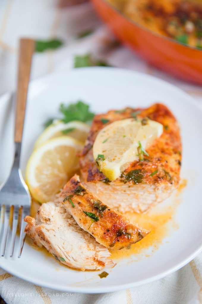 Chicken with Lemon Butter Sauce sliced with a fork