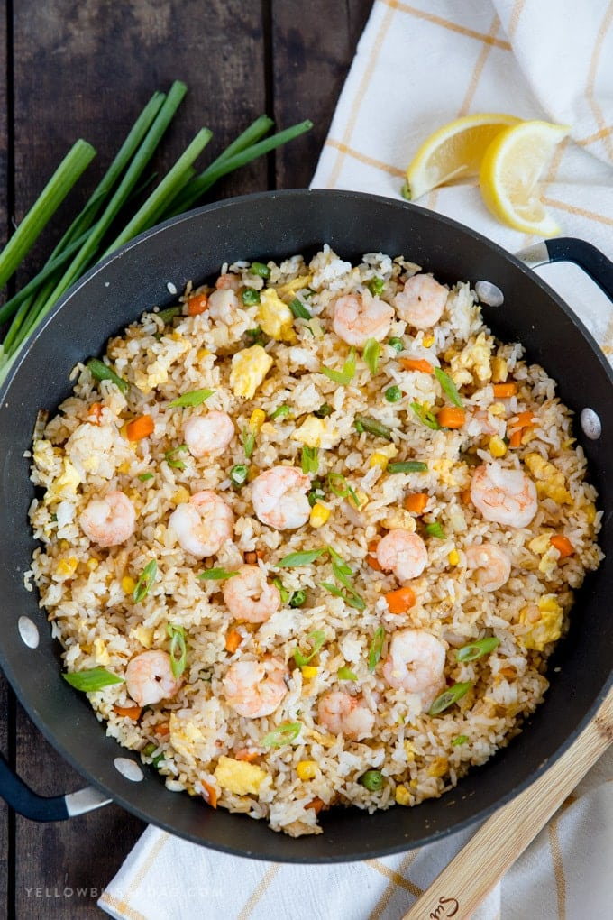Overhead shot of shrimp fried rice in a large skillet