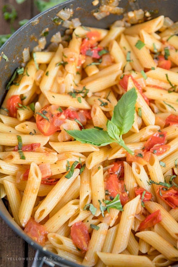 Rustic penne pasta with tomato basil sauce