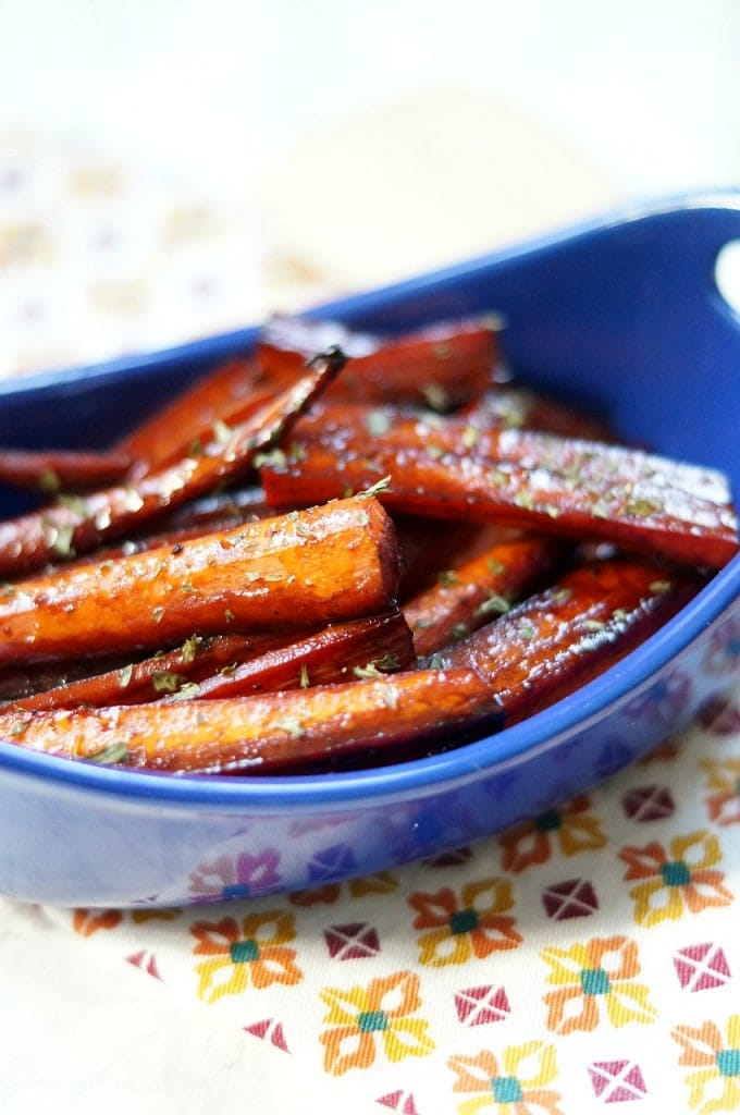 A close up of roasted carrots