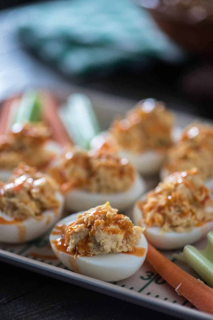 Buffalo Chicken Deviled Eggs from The Crumby Kitchen