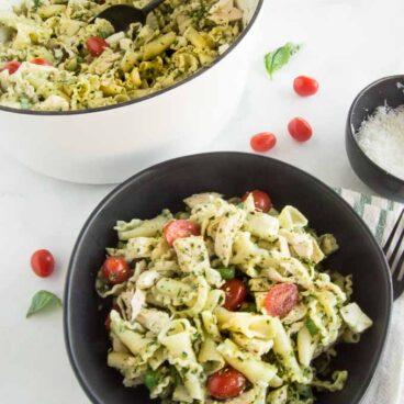 A bowl of Chicken Pesto Pasta Salad