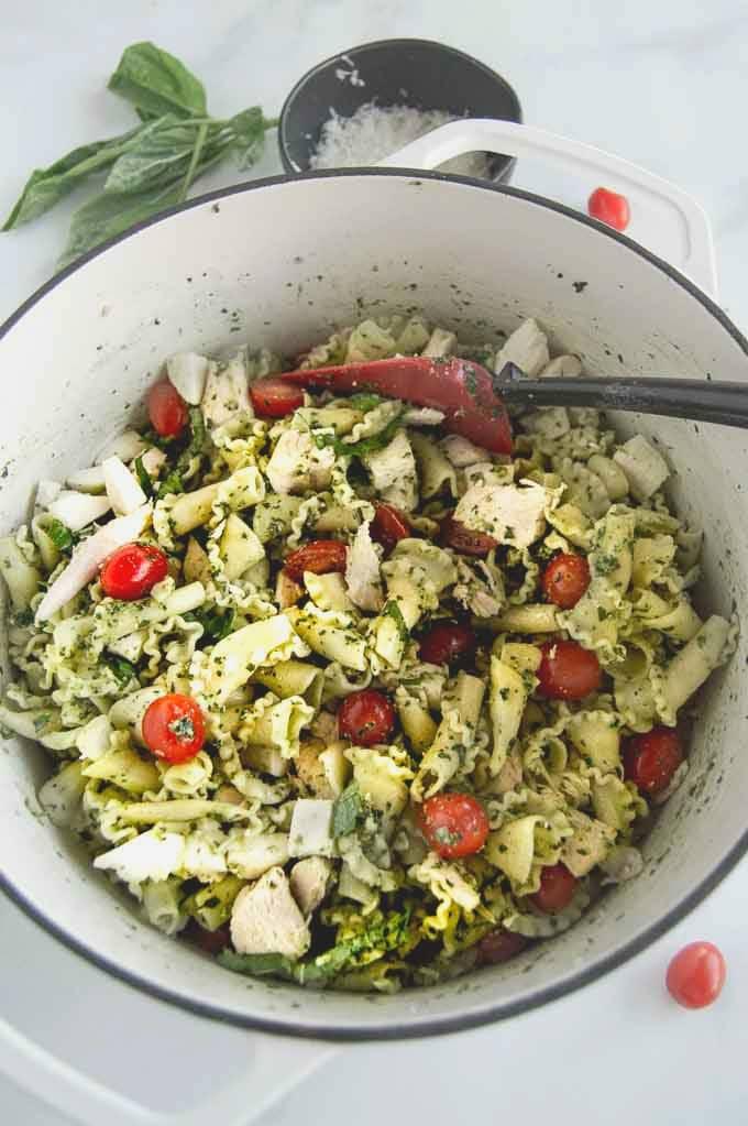 A pot of chicken pesto pasta salad