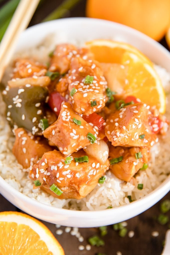 crockpot orange chicken with onions and peppers