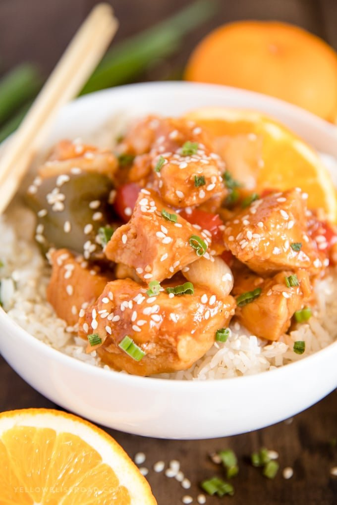 Crockpot orange chicken with peppers and onions