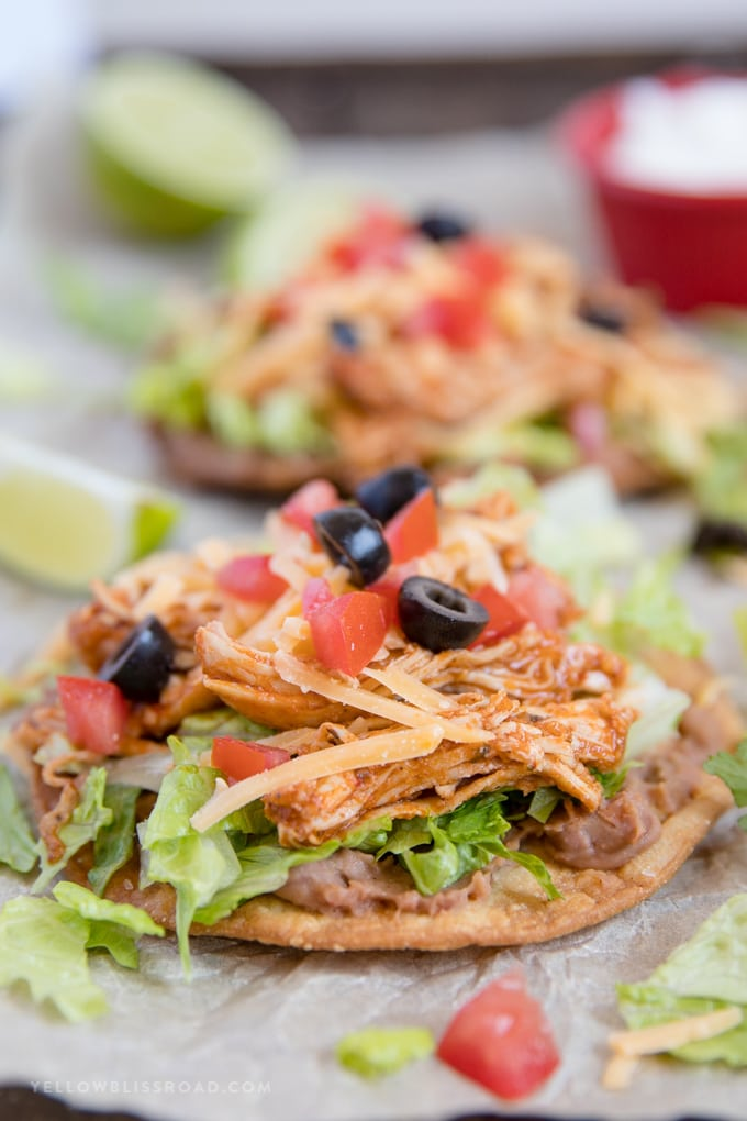 Close up of chicken tostadas with toppings