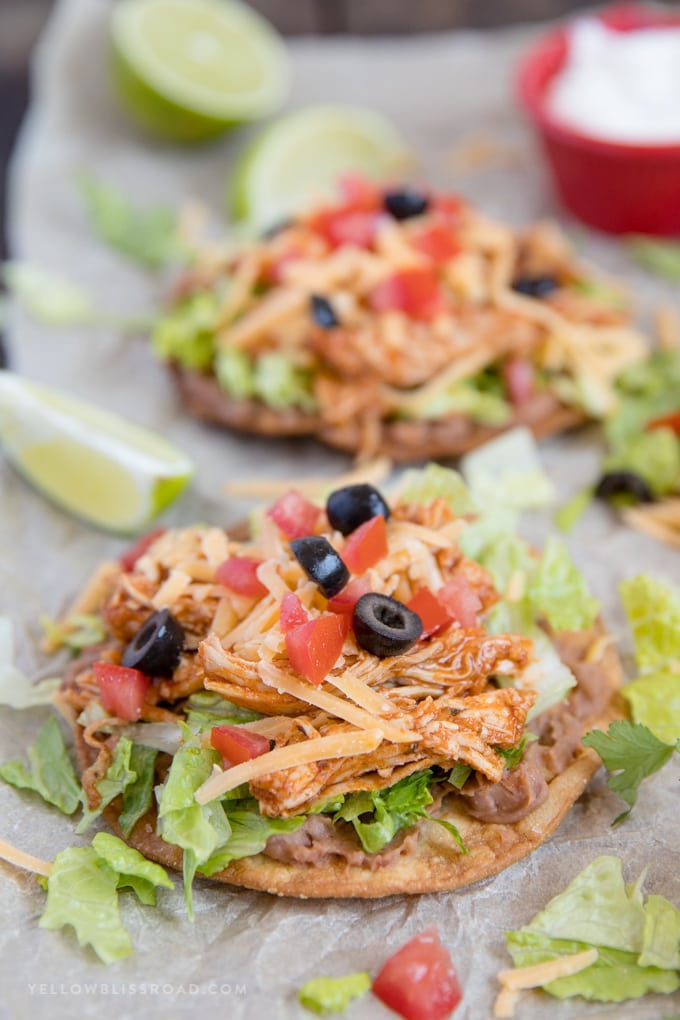 Easy Chicken Tostadas with limes