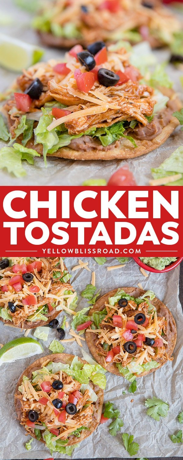 Simple and delicious recipe for Chicken Tostadas - easily customizable for a quick and delicious Mexican meal.