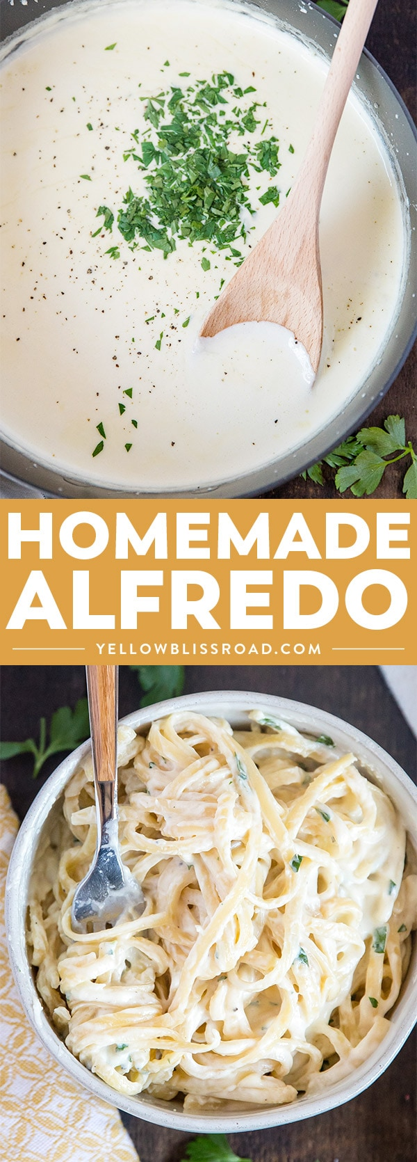 Homemade Alfredo Sauce is so creamy and flavorful, and so simple to make from scratch! Great for pasta, pizza and more! Collage