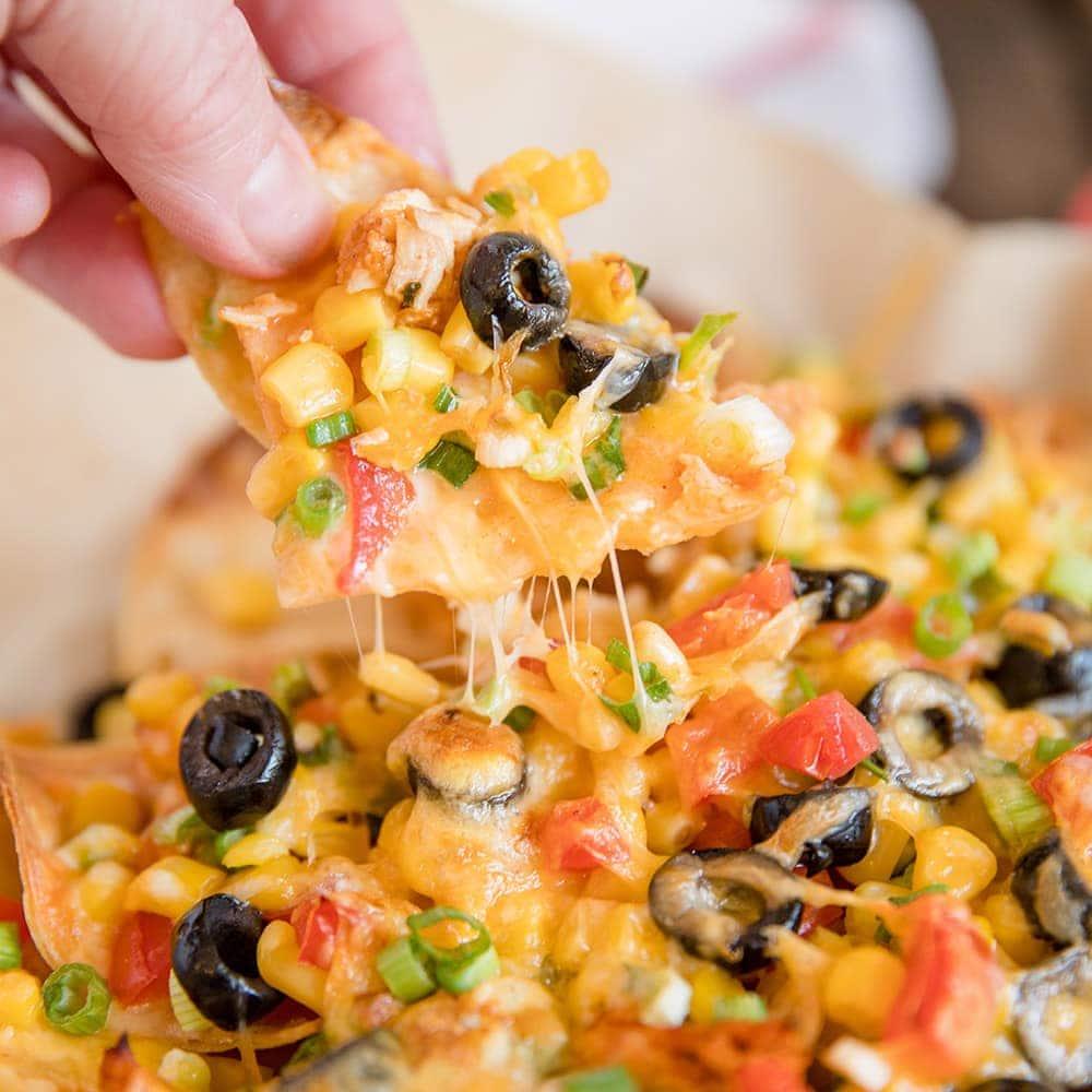 Loaded Chicken Nachos Recipe Mexican Chicken Cheese Veggies