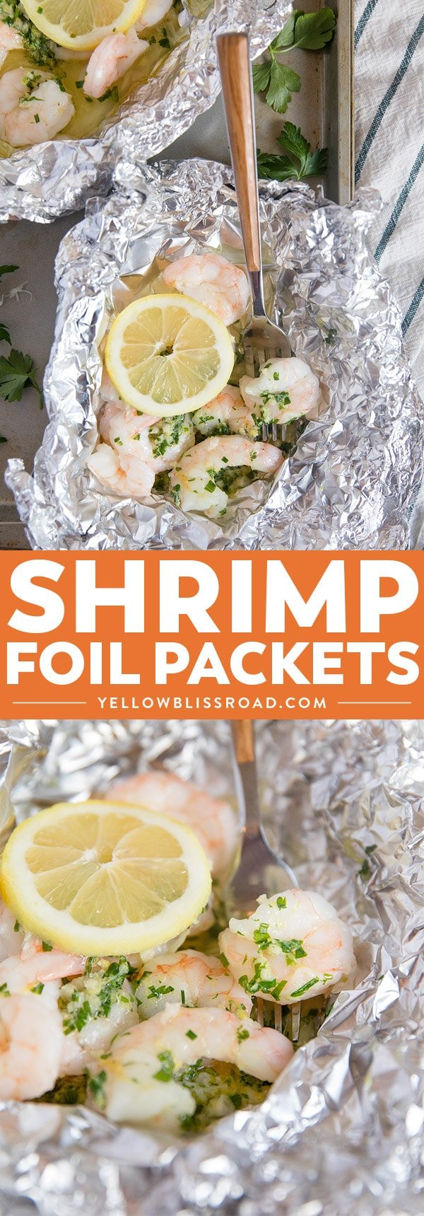 Shrimp Foil Packets in the oven with Lemon Herb Butter | Grilled Shrimp Foil Packets (collage)