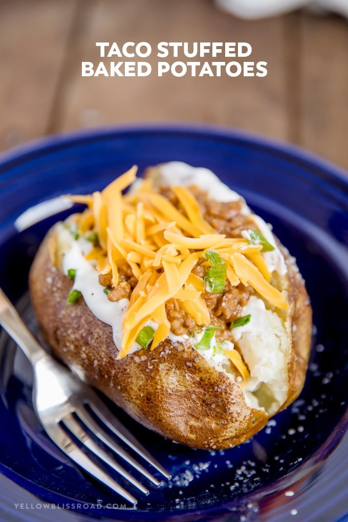 taco stuffed baked potato with title text