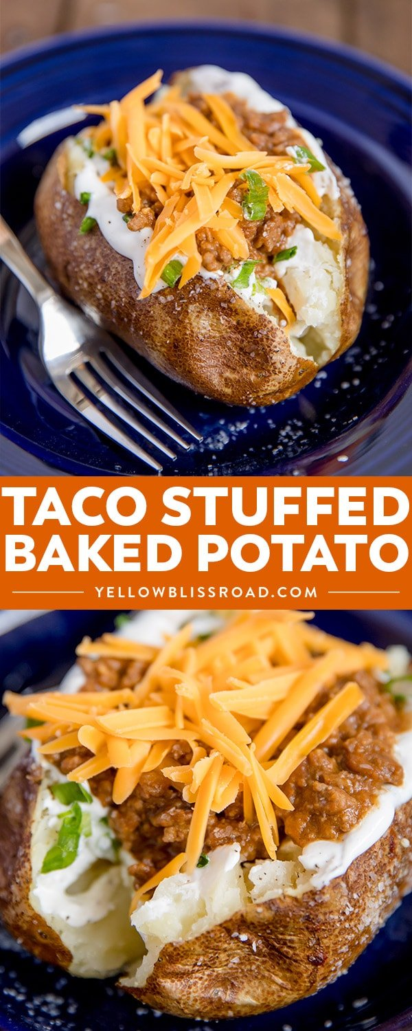 Taco Stuffed Baked Potatoes - two images with text collage