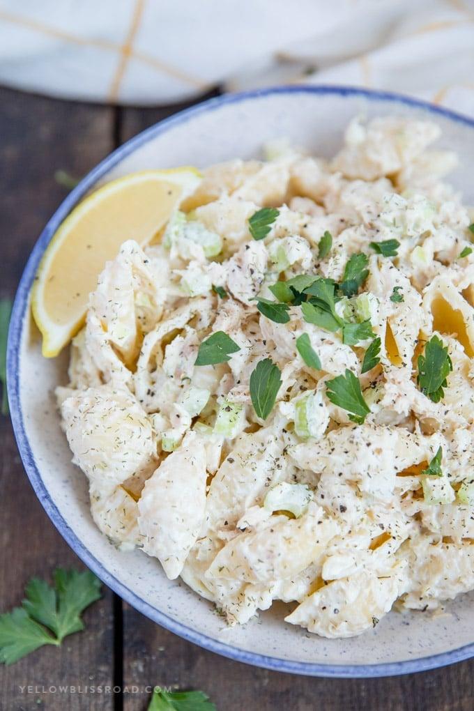 A bowl of Tuna Pasta Salad