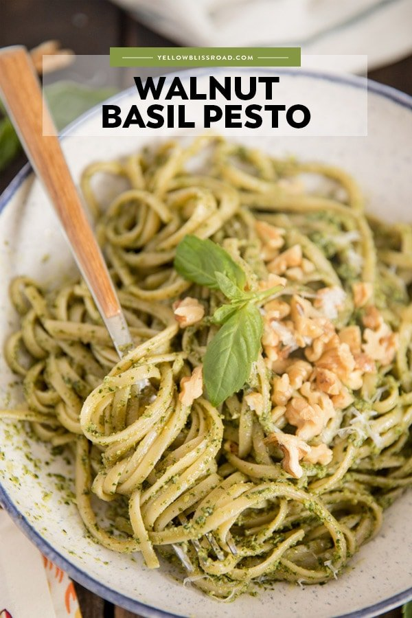 Walnut Basil Pesto pinterest friendly image