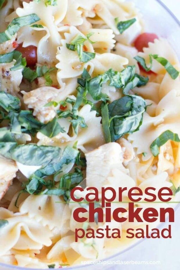 Social media image of caprese chicken pasta salad