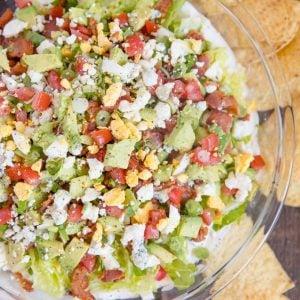 A bowl of Cobb salad dip