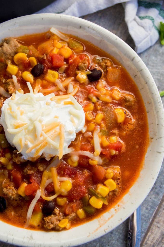 overhead photo of Turkey Taco Soup in a bowl