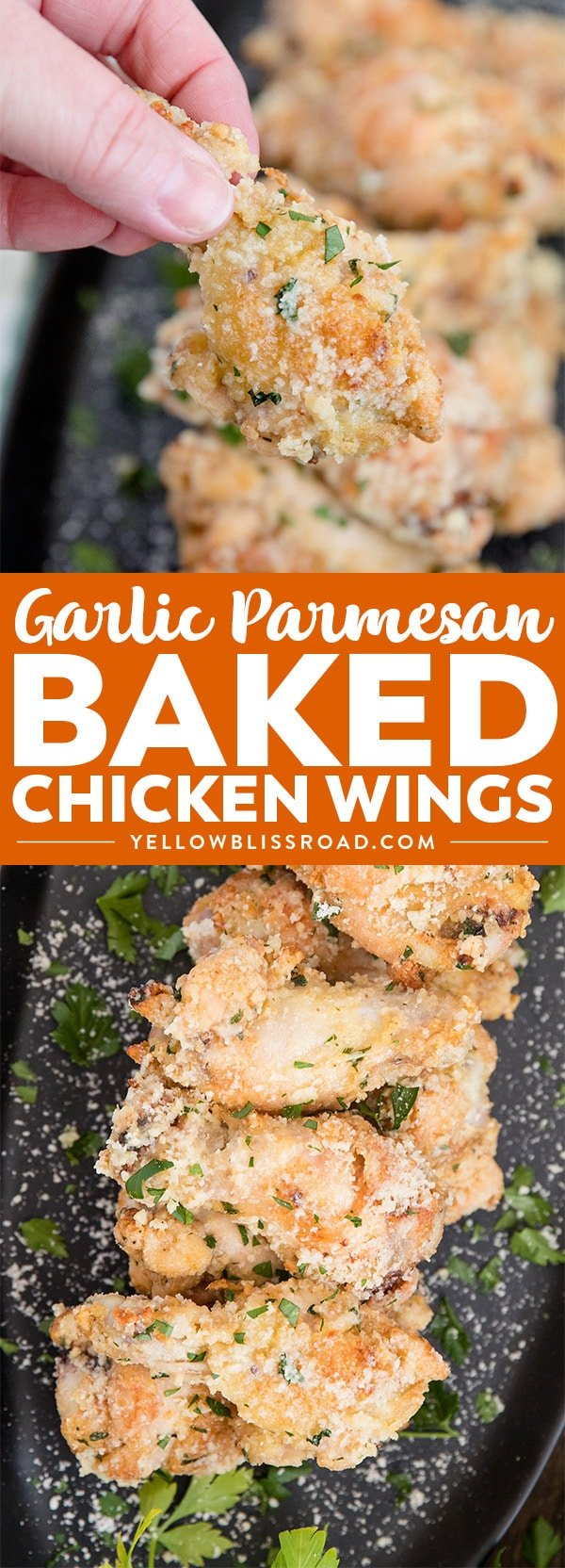 Crispy Baked Garlic Parmesan Chicken Wings in garlic parmesan sauce - two images with title text collage