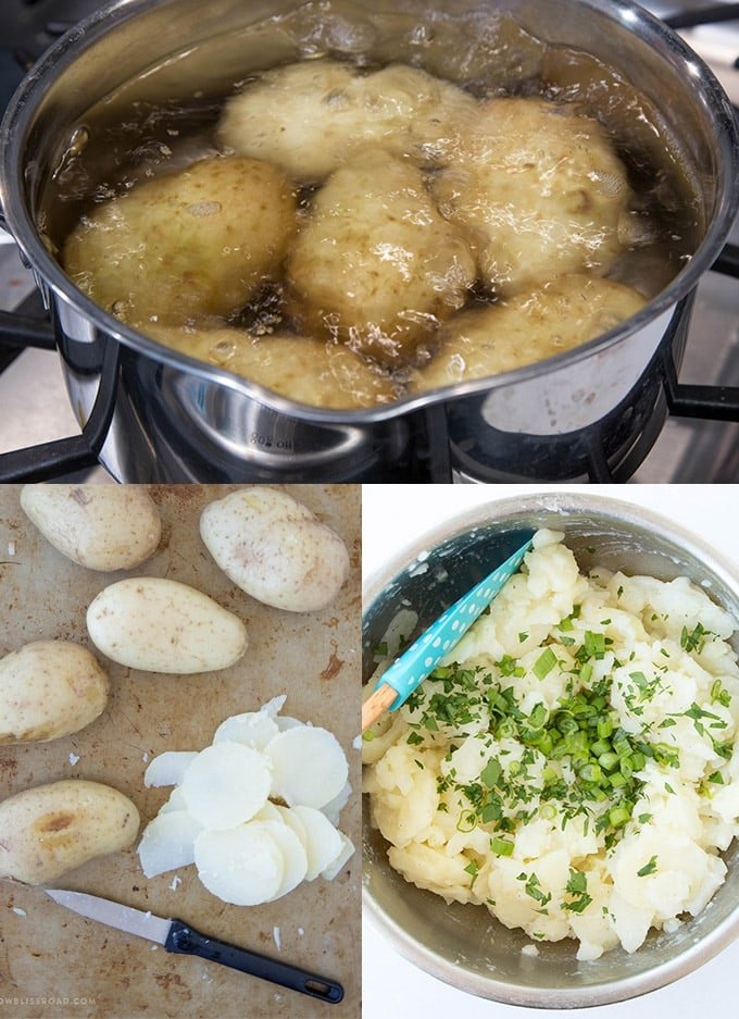 German Potato Salad | Collage with three images of potatoes to make german potato salad