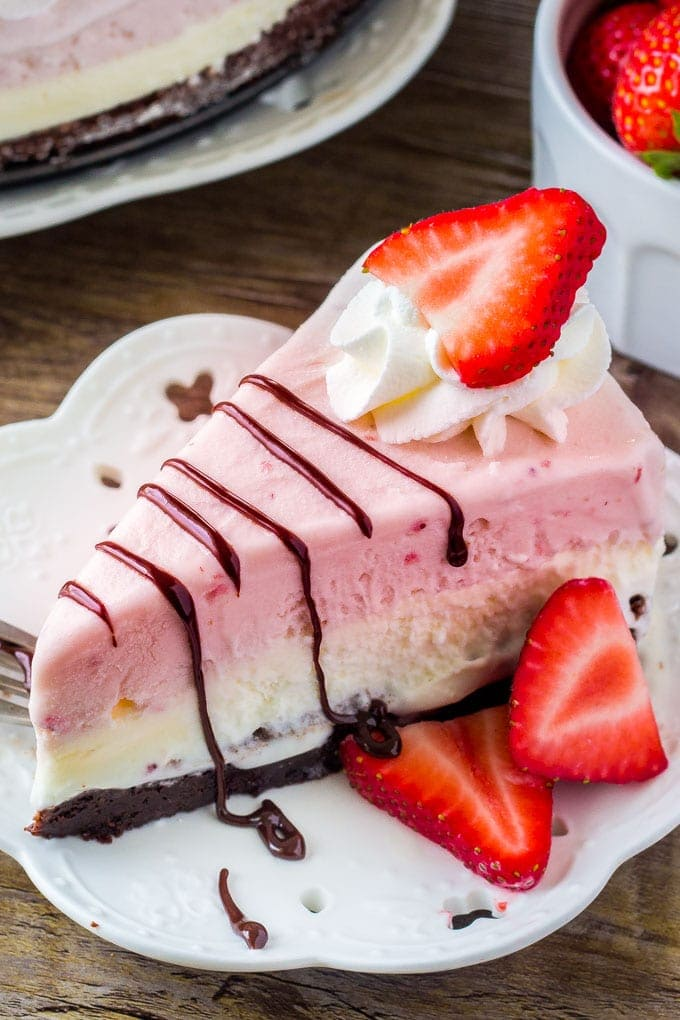 A slice of homemade ice cream cake.