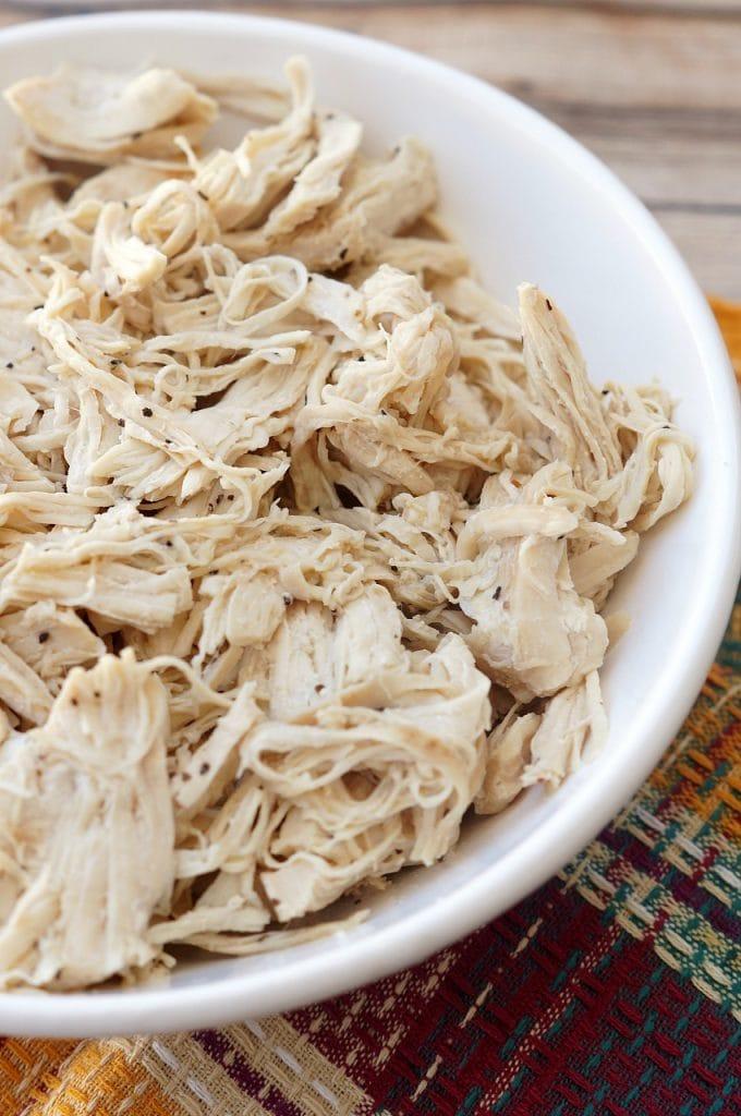 A bowl of Shredded Chicken