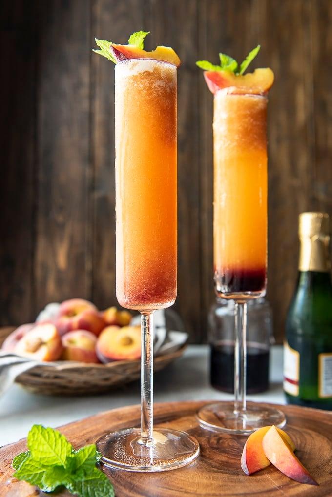 Frozen Peach Bellini in champagne flute