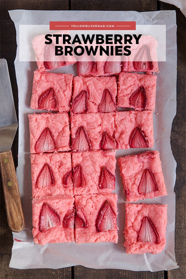 Strawberry Brownies pinnable image with text overlay