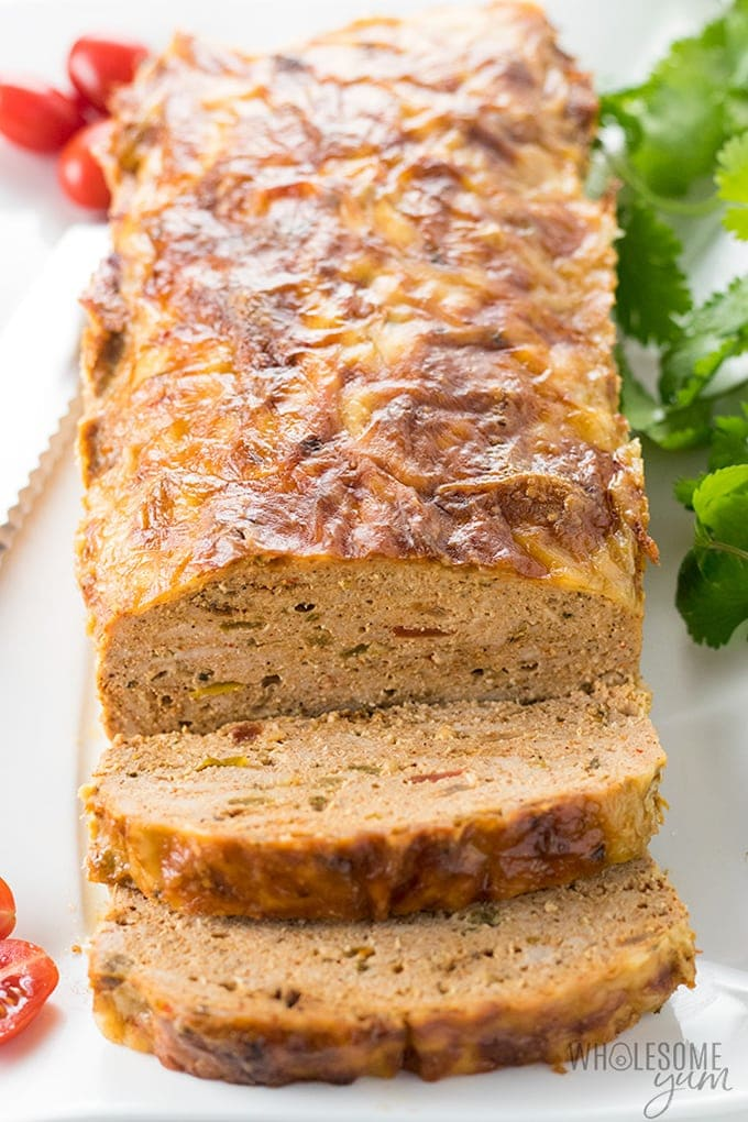 spicy mexican ground turkey meatloaf recipe sliced with pepper jack cheese on top