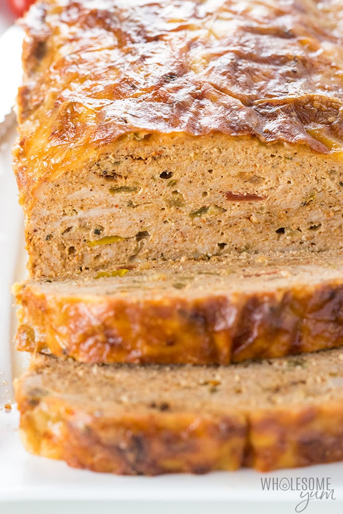 sliced spicy ground turkey meatloaf recipe with salsa, parmesan and pepper jack cheese