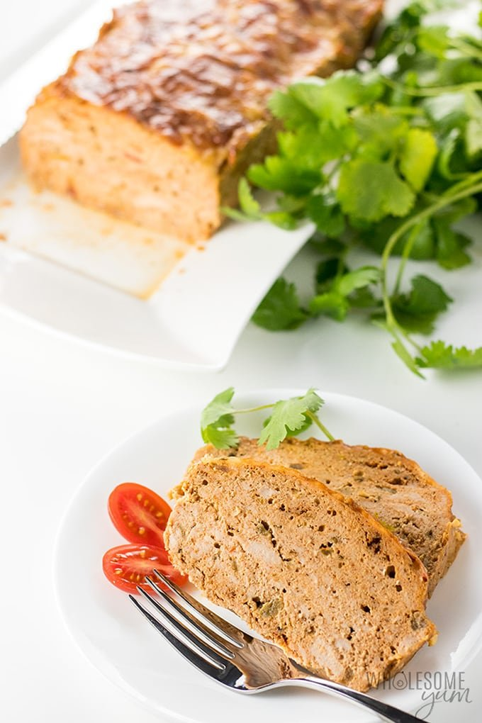 Spicy ground turkey meatloaf recipe, slices on a white plate