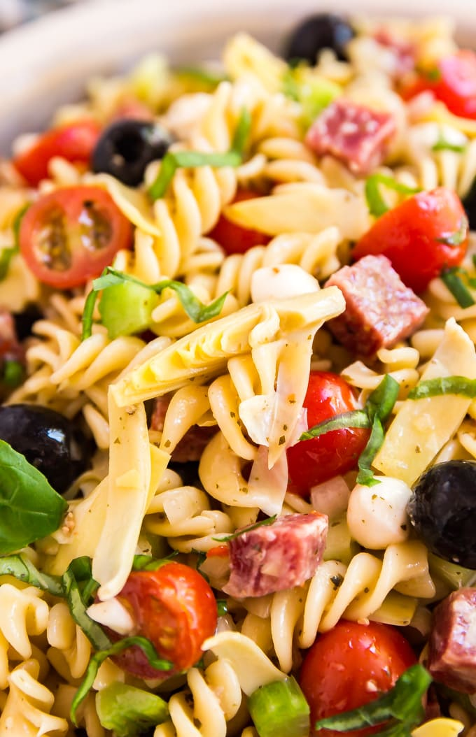 antipasto pasta salad close up of ingredients in bowl