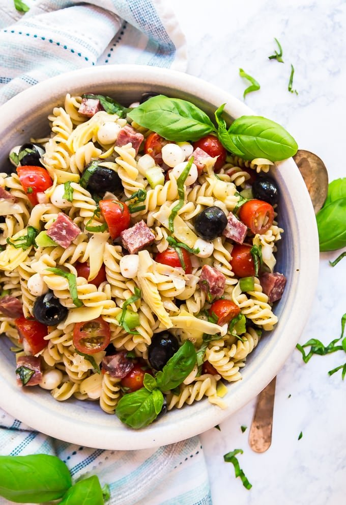 overhead image of anitpasto pasta salad