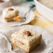 Don't let those ripe bananas go to waste! Whip up this tender, fluffy Banana Cake with Pineapple Cream Cheese Frosting and bring a little taste of the tropics to your summer party!