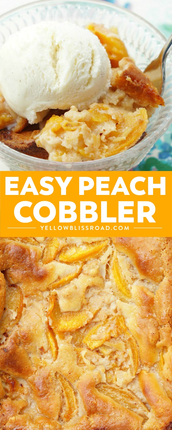 Easy Peach Cobbler pinnable collage image