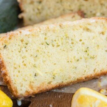 A slice of lemon zucchini bread