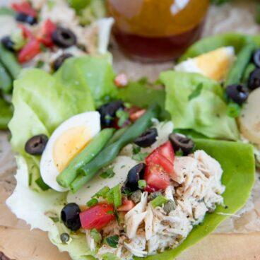 Close up of Nicoise Salad Lettuce Wraps