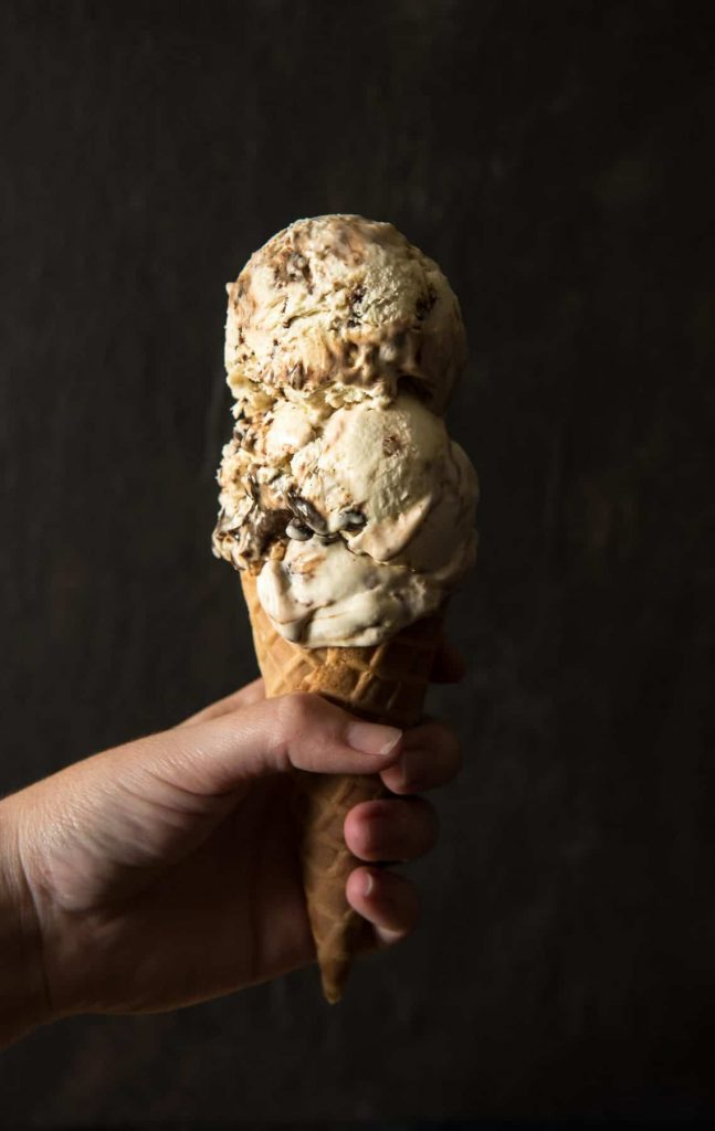 No-Churn Mocha Toffee Cheesecake Ice Cream from The Crumby Kitchen