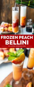 No need to wait for peach season - you can enjoy a Frozen Peach Bellini any time of the year! This easy 4-ingredient brunch cocktail is made with frozen peaches, peach vodka, and a kiss of grenadine for an extra kick of booze.