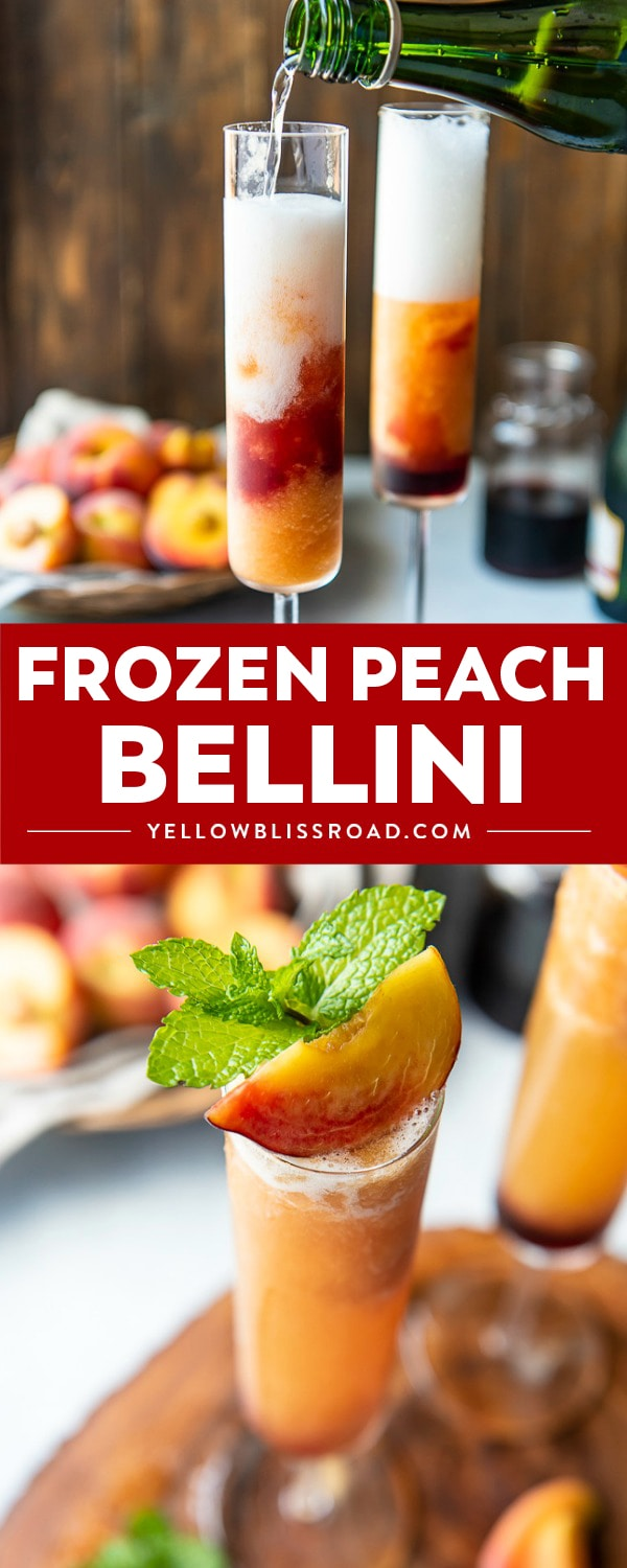 No need to wait for peach season - you can enjoy a FrozenPeach Belliniany time of the year! This easy 4-ingredient brunch cocktail is made with frozen peaches, peach vodka, and a kiss of grenadine for an extra kick of booze.
