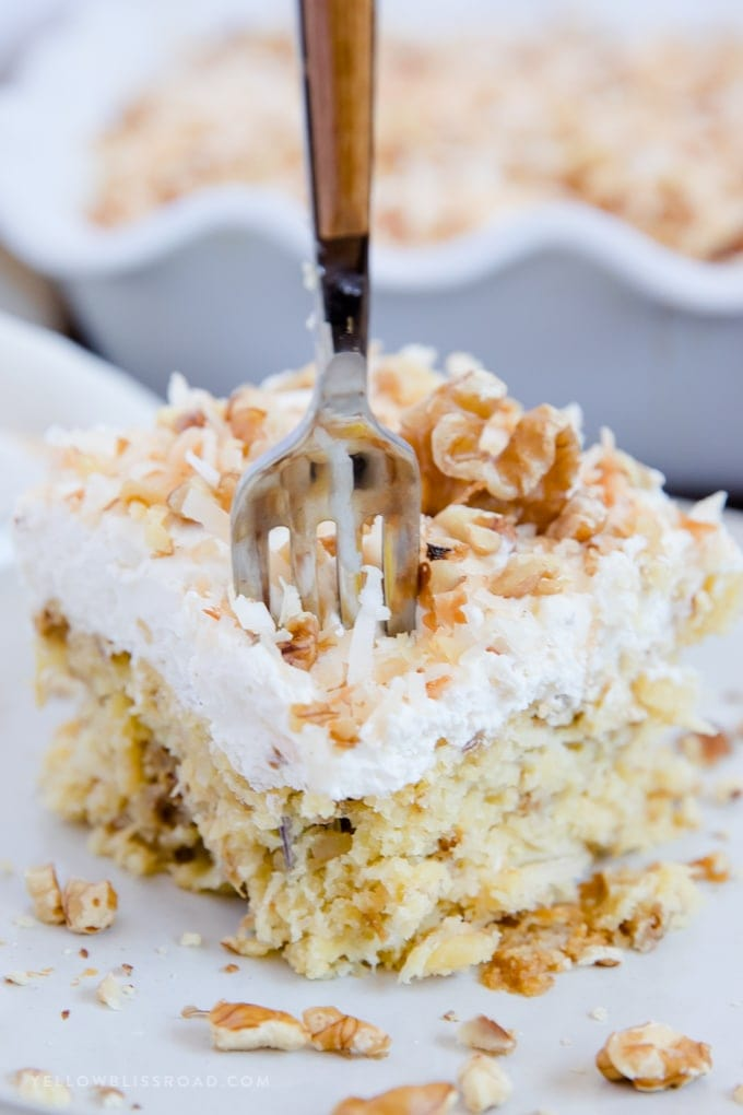 Walnut Pineapple Cake With Toasted Coconut And Cream