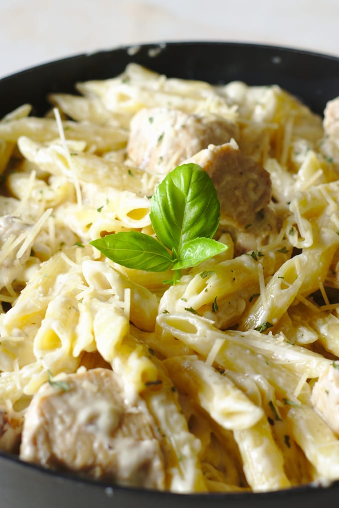 close up of One Pot Chicken Alfredo with a sprig of basil