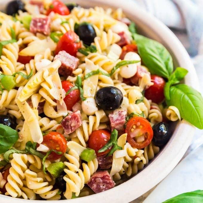 A bowl of Antipasto Pasta Salad