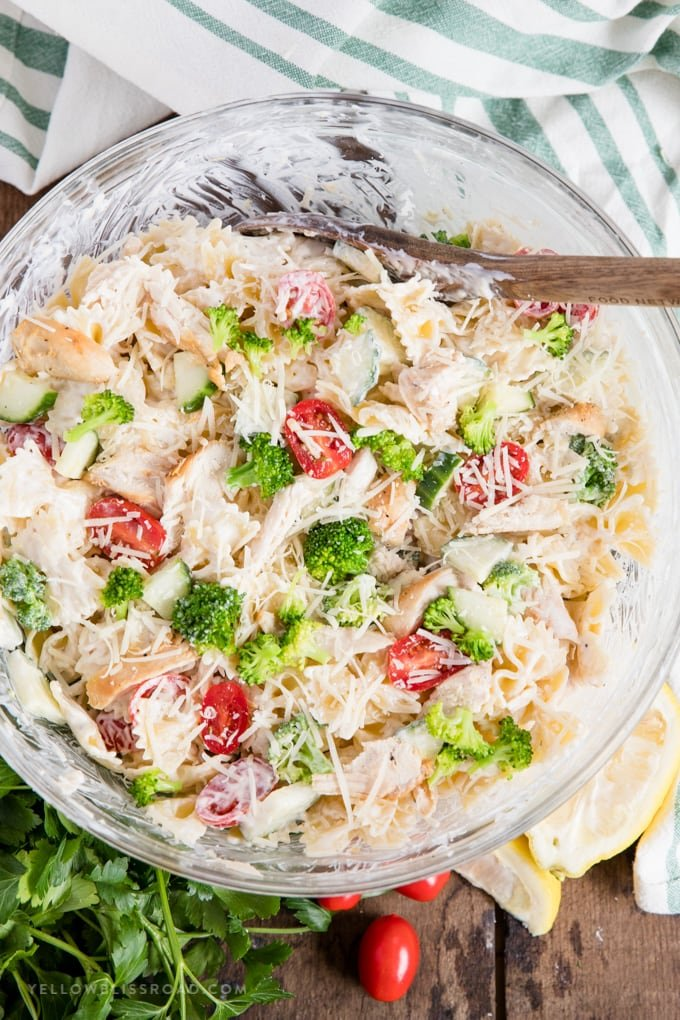 A big bowl of chicken and veggie pasta salad with creamy lemon pasta salad dressing
