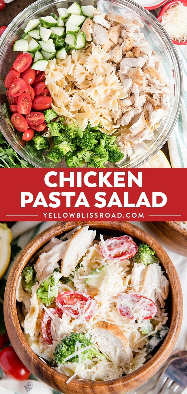chicken pasta salad photo collage