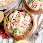 social media square image for chicken pasta salad