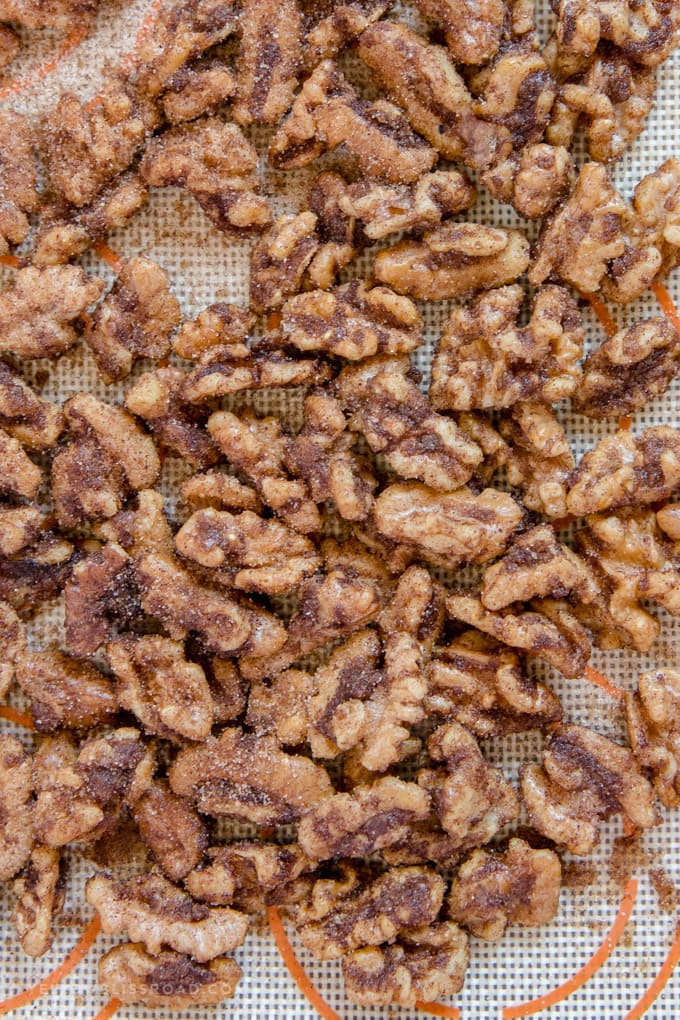 A pile of churro flavored walnuts
