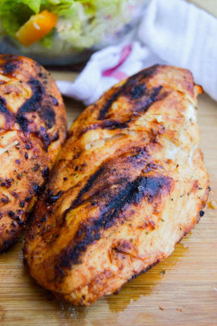 BBQ Ranch Grilled Chicken Breast on a cutting board