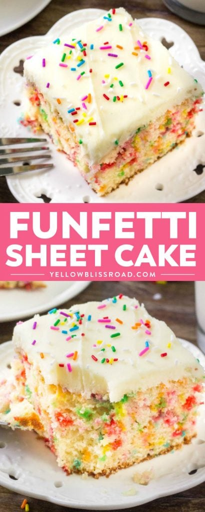This funfetti sheet cake is everything a funfetti cake should be: moist, tender, buttery & filled with sprinkles. Say goodbye to the box mix and make this easy funfetti cake recipe instead!