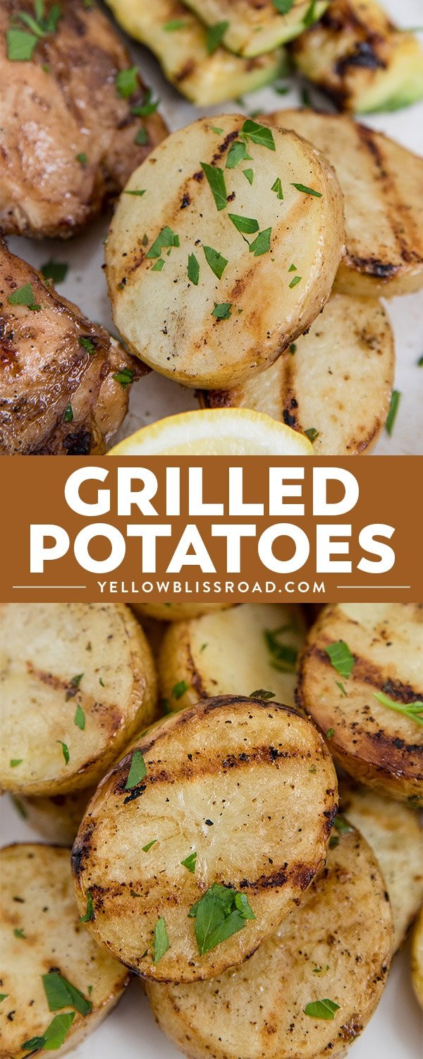 grilled potatoes collage